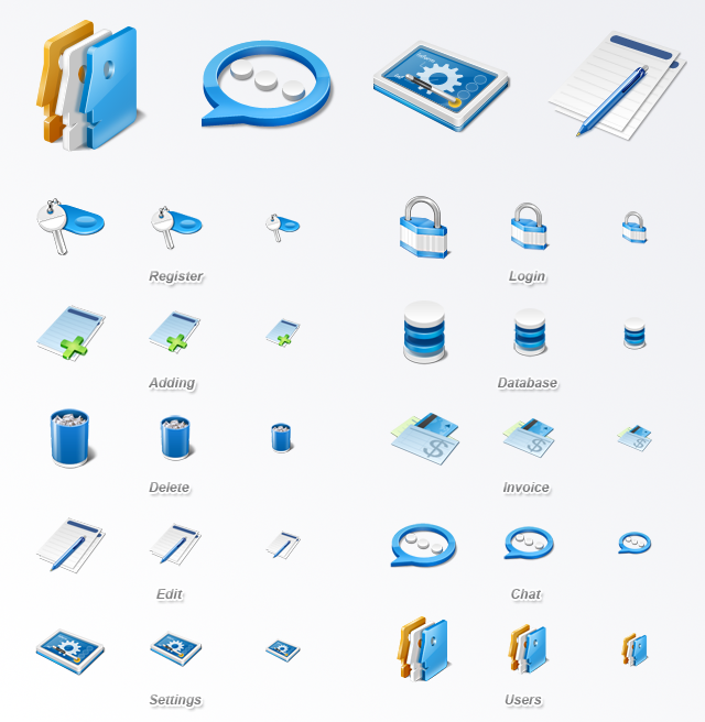 Contains 10 high quality application icons in PNG format