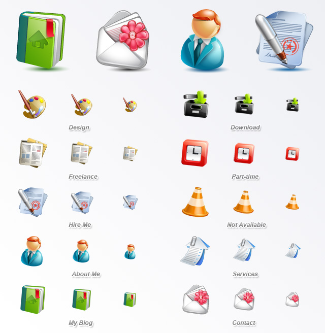 Contains 10 high quality blogging icons in PNG format