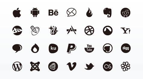 Social Media Glyphs Icon Set